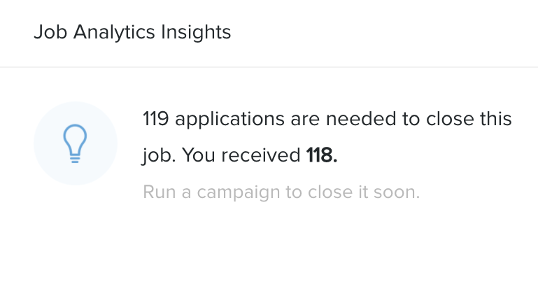 Job Analytics Insights Widget showing that 119 applications are needed to close a position.