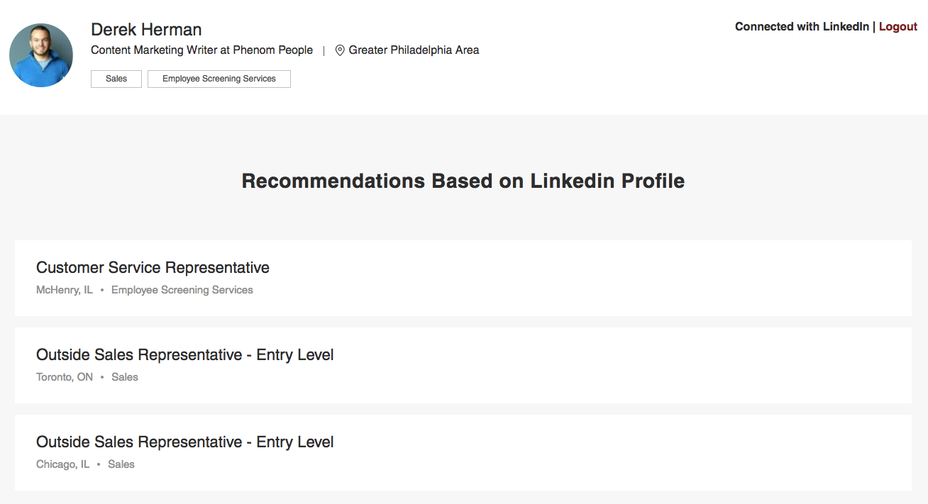 LinkedIn integration on Medcor's career site