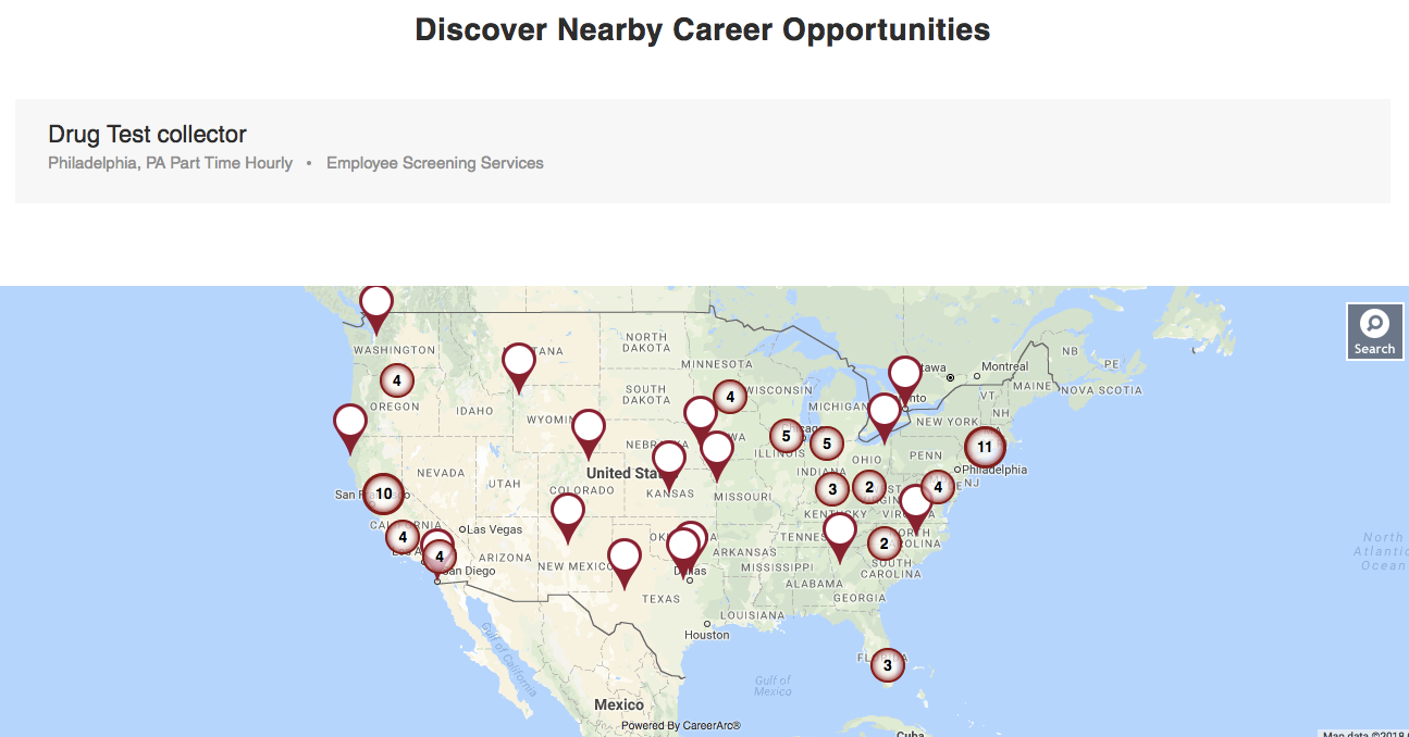 Nearby job opportunity searching on Medcor's career site