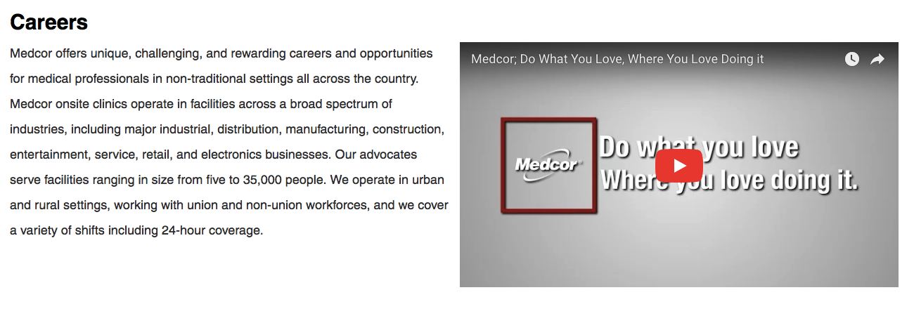 Video content on Medcor's career site