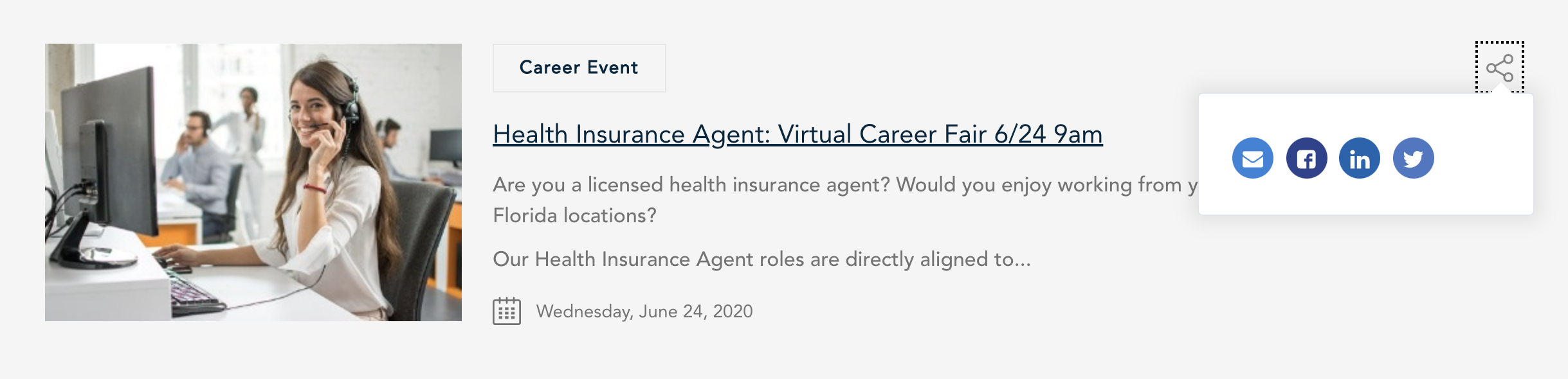 Guidewell virtual event details on career site screenshot