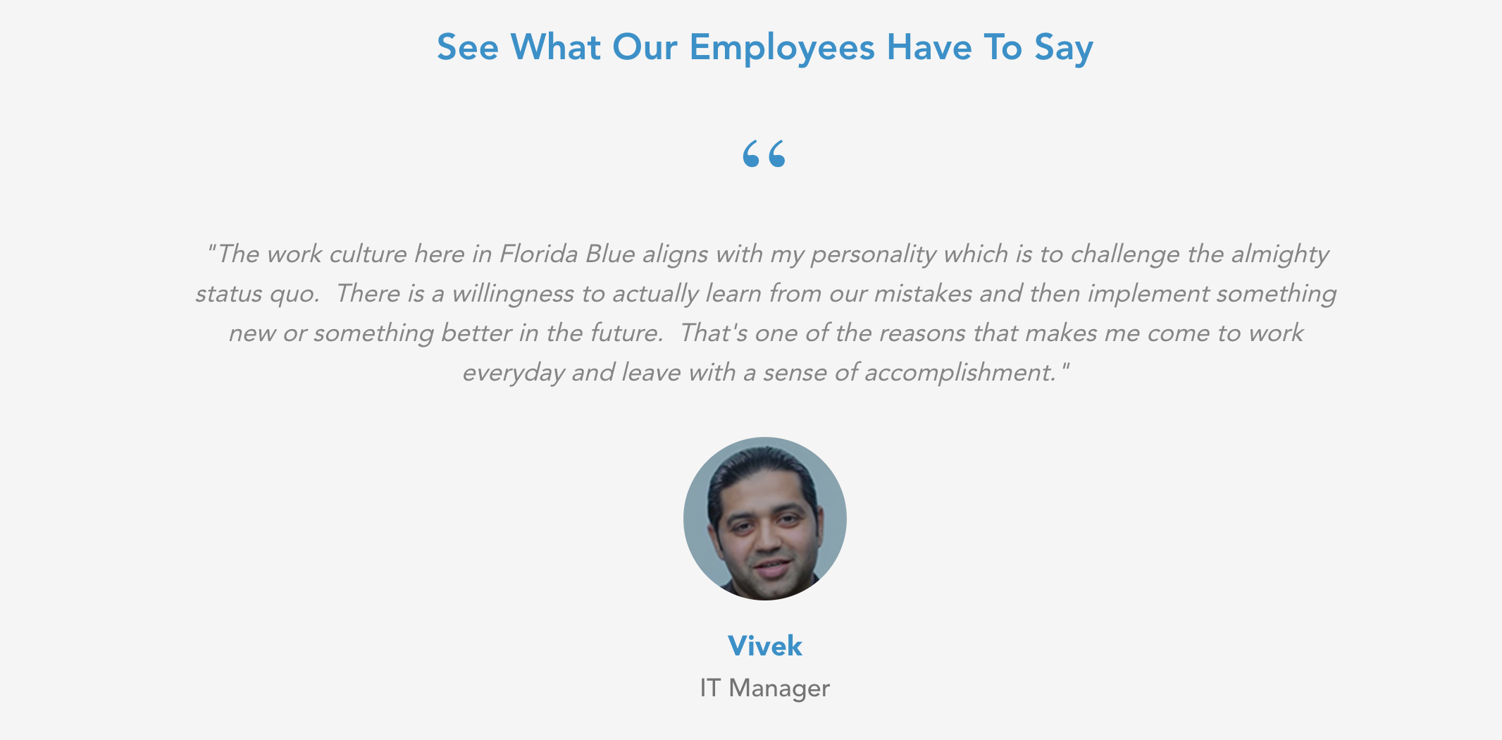 Guidewell employee testimonial screenshot