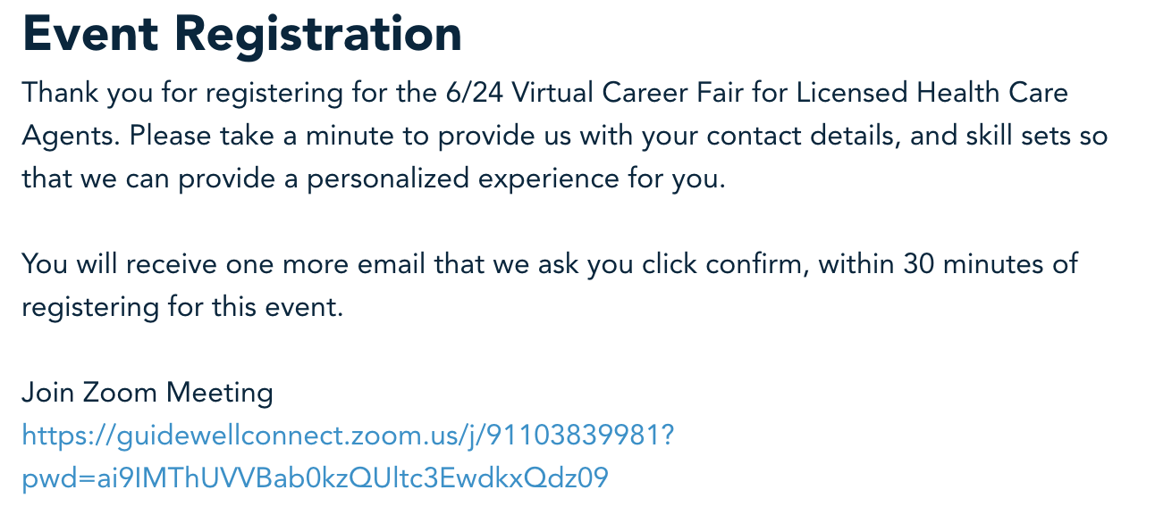 Guidewell virtual event registration screenshot