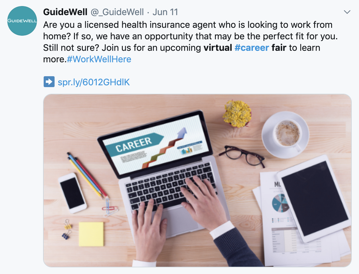 Guidewell virtual career fair Twitter screenshot
