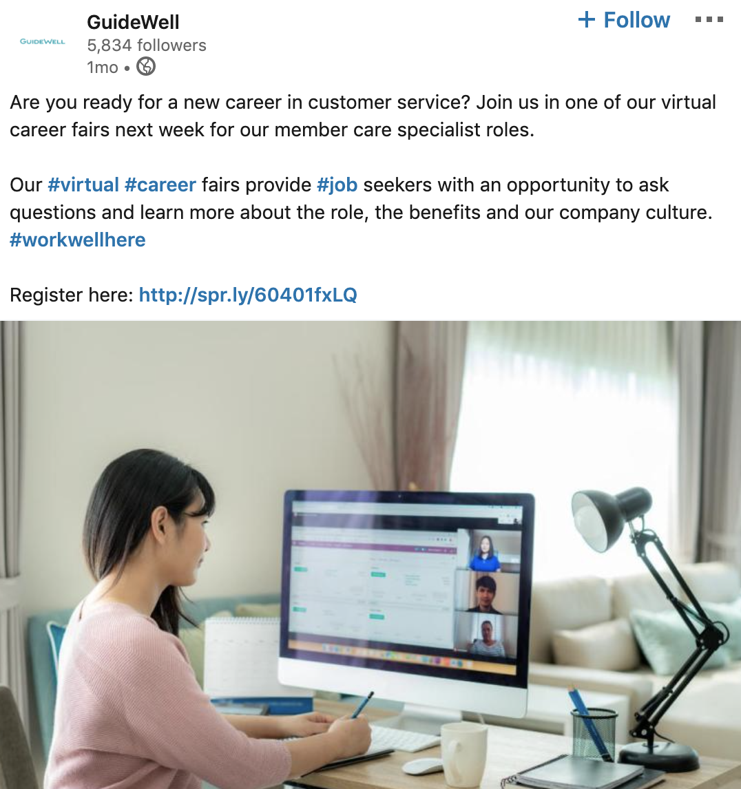 Guidewell virtual career fair LinkedIn screenshot