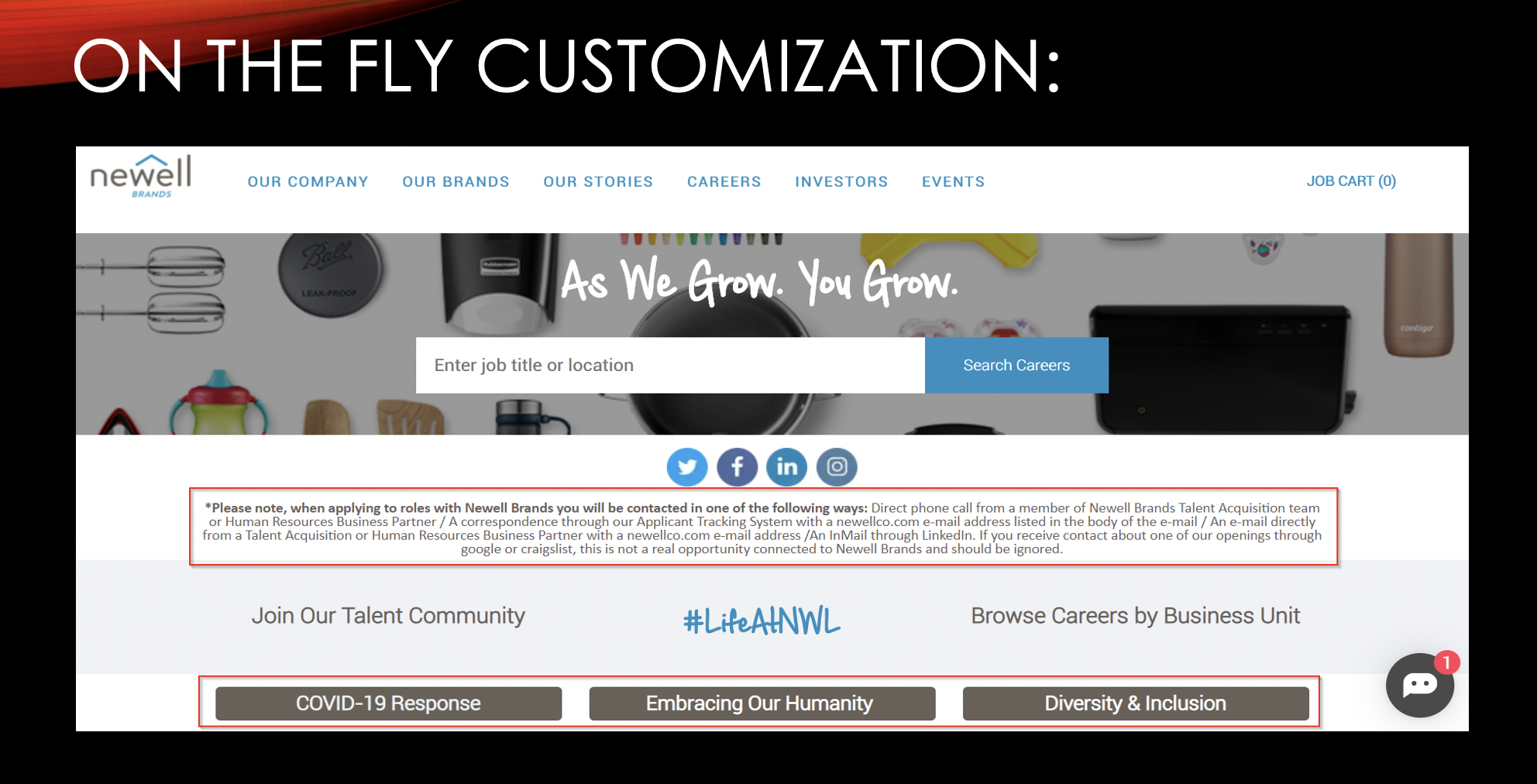 Example of on-the-fly customization on career site