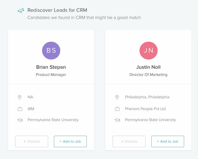 Past leads on the CRM powered by AI for talent acquisition