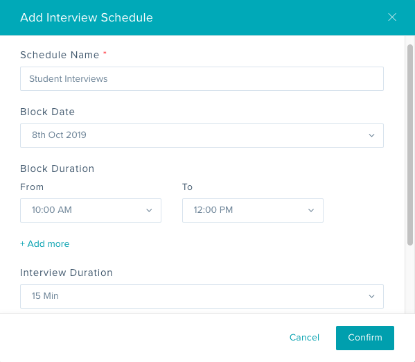 Screenshot of interview blocks