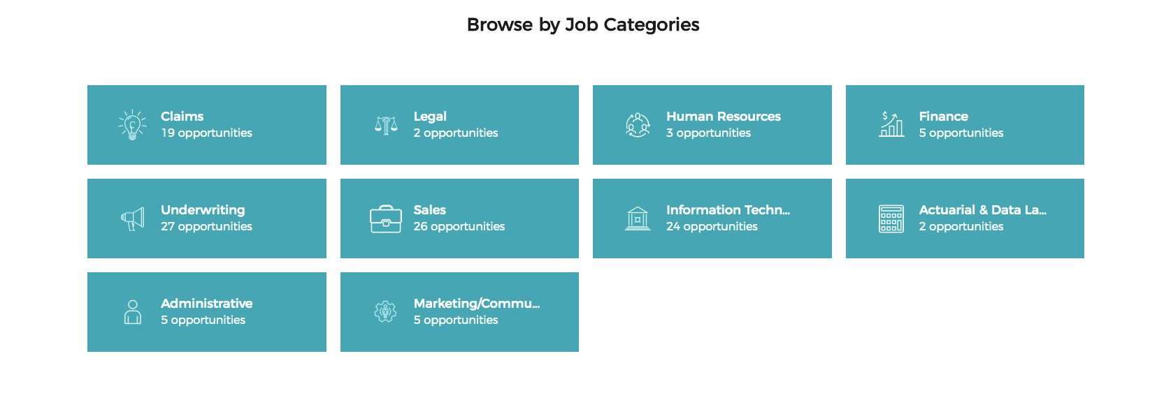 Browse by job category on Intact's career site with Phenom People
