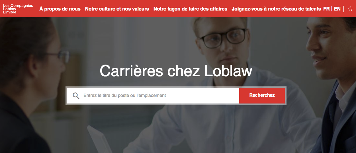 Loblaw has a toggle on their career site that allows for different languages for their job seekers