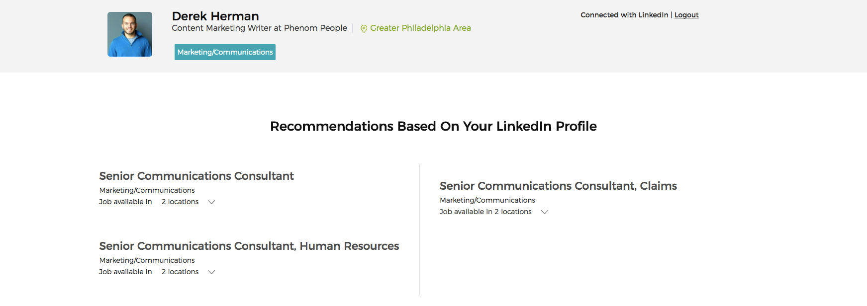 LinkedIn integration on Intact's career site