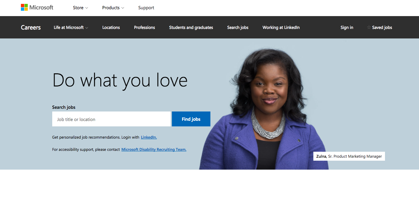 Microsoft's career site's homepage powered by Phenom People