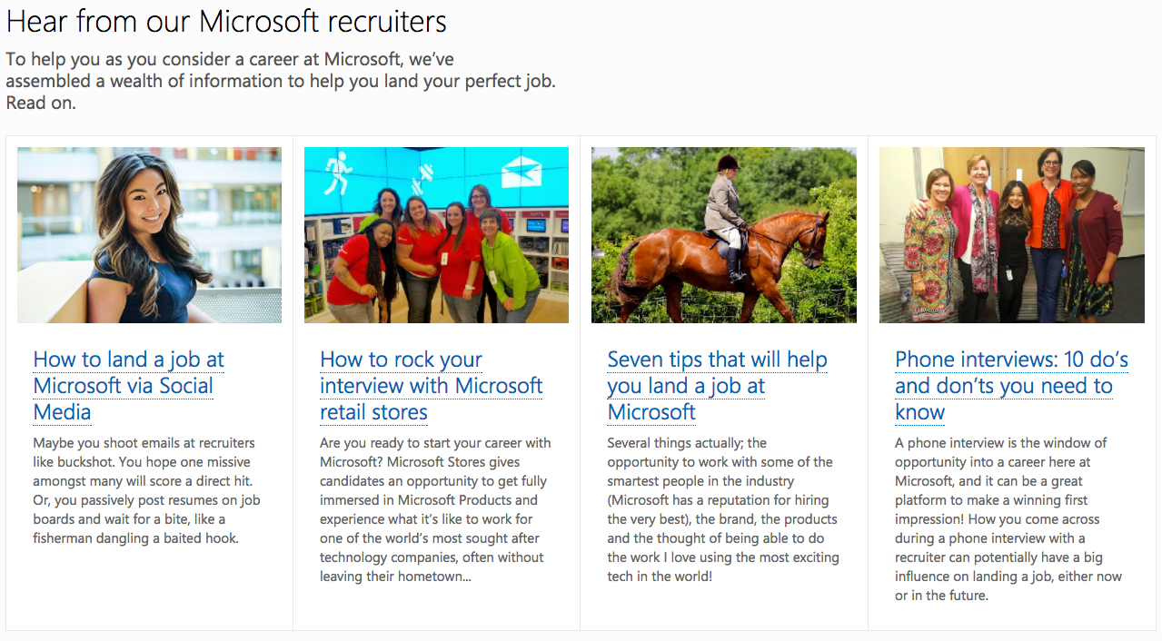 Microsoft provides interview tips on the career site with Phenom People