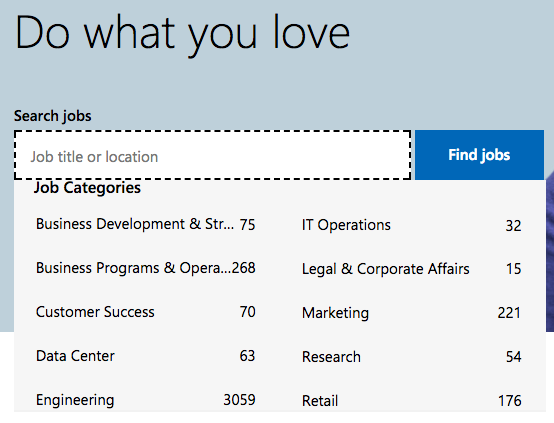 Job searching by category on Microsoft's career site with Phenom People