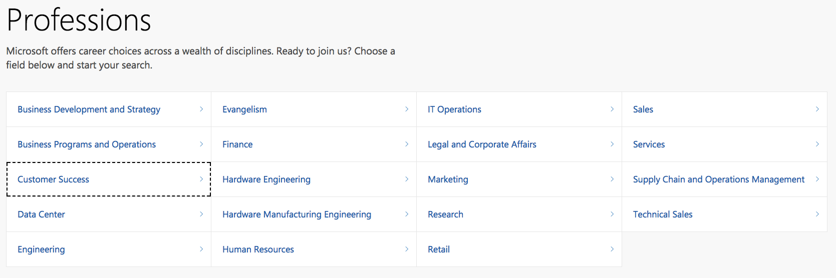Profession information on Microsoft's career site with Phenom People