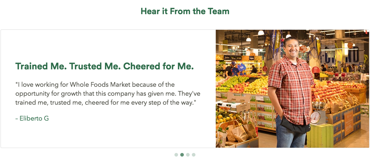 Employee testimonials on Whole Foods career site