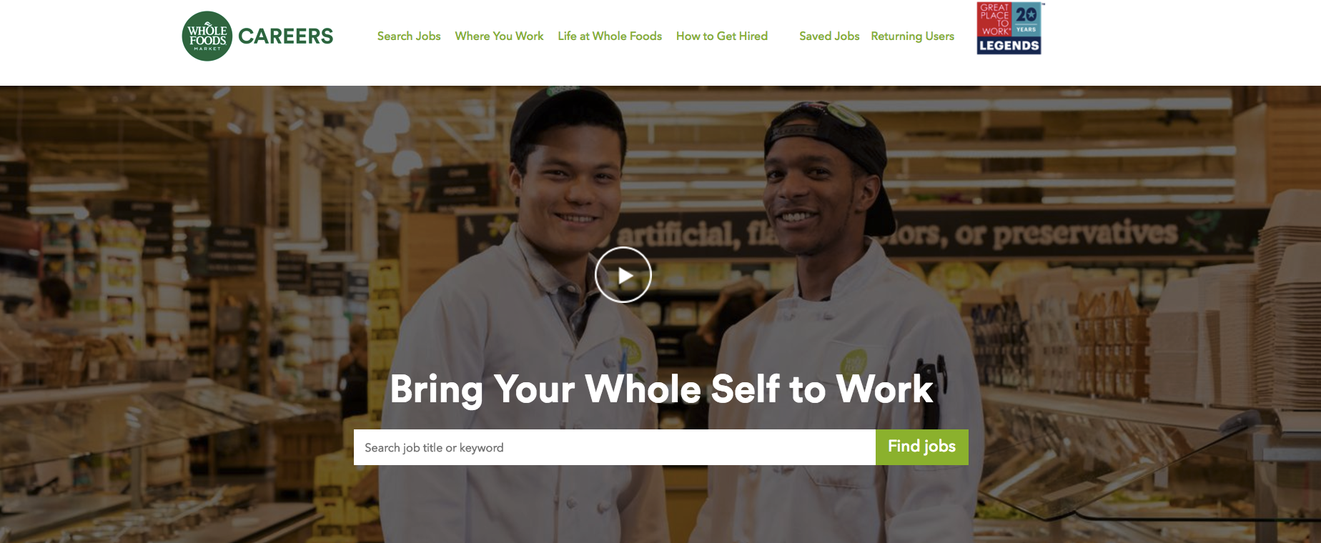 Whole Foods career site's homepage