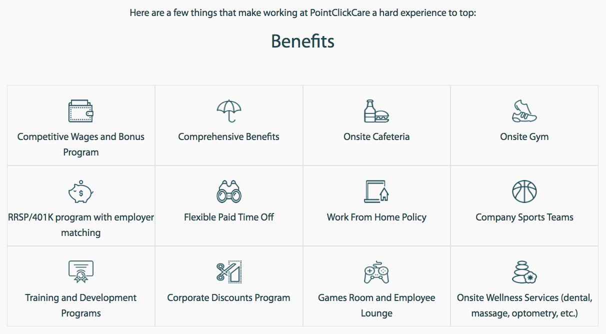 Employee value proposition on PointClickCare's career site