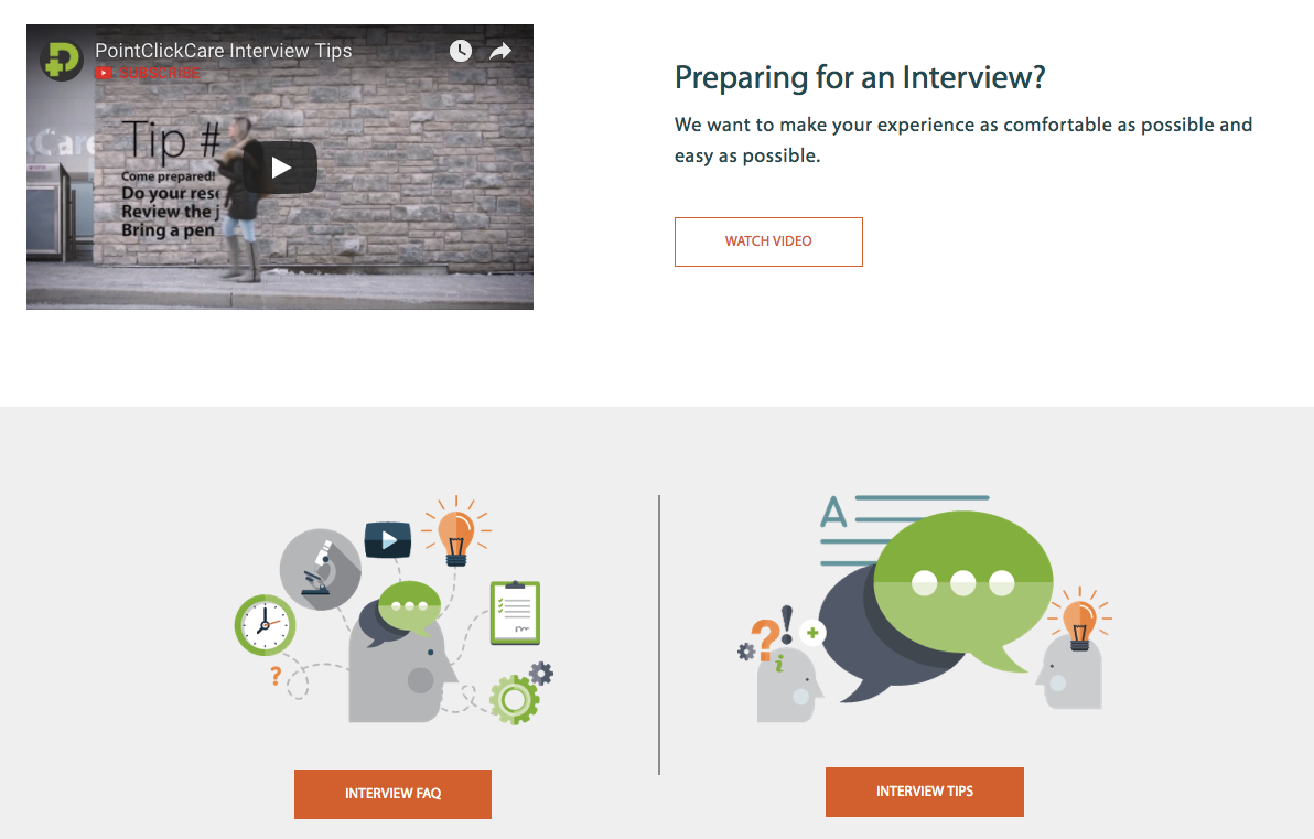 Interview tips on PointClickCare's career site with Phenom People
