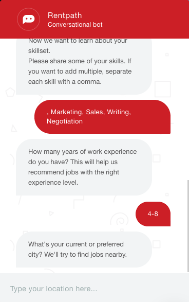 RentPath's career site chatbot answering candidates' questions