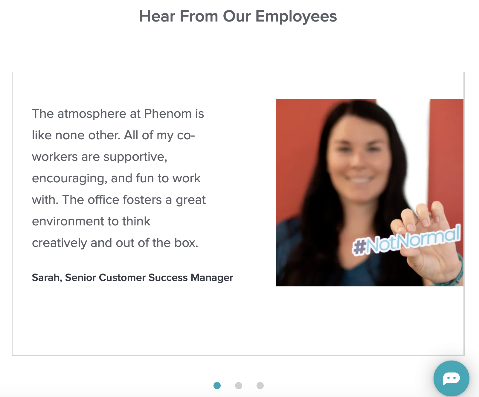 short employee testimonial example for mobile candidate experience