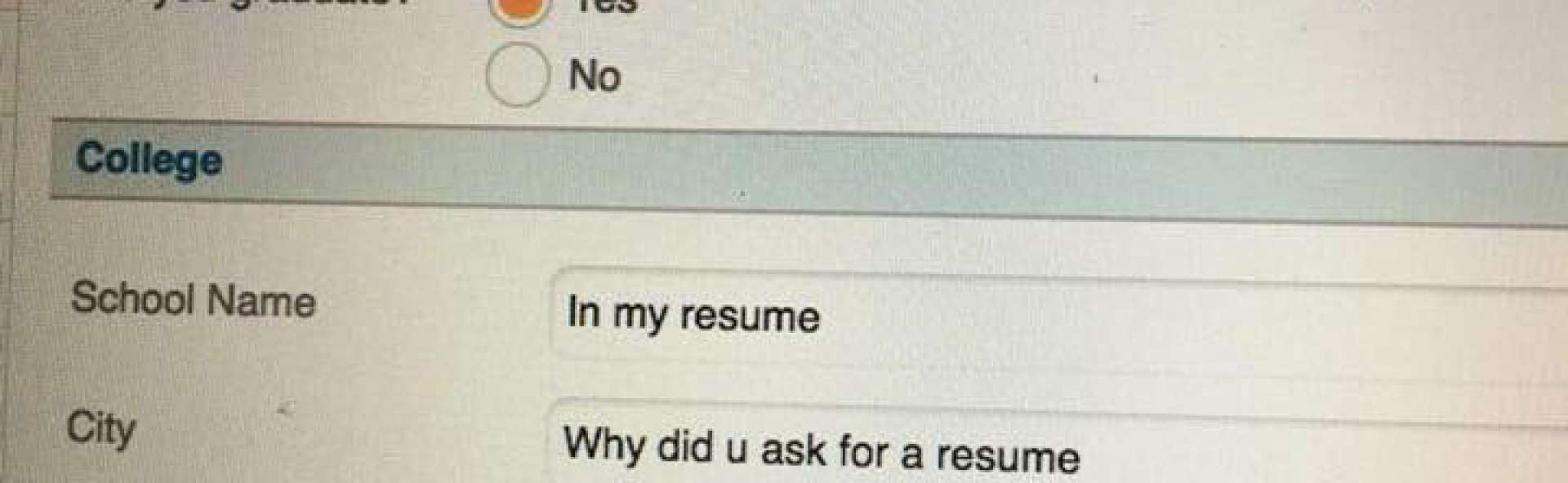 Viral Photo Beckons What Is The Point Of A Resume